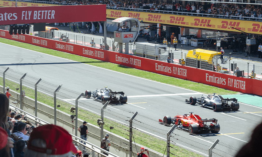 Close-up view of the race start