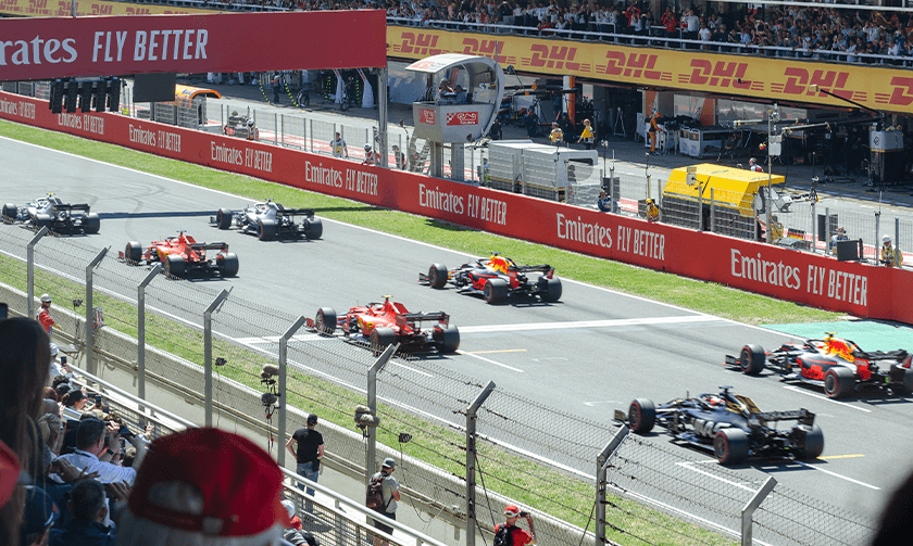 Close-up view of race start